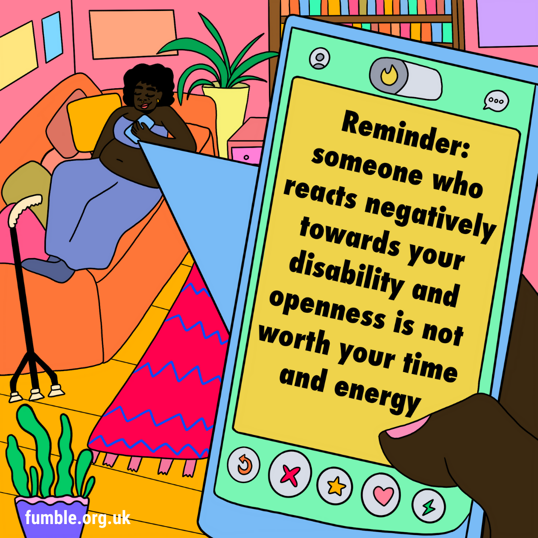 Person reclining on orange sofa in living room, with a phone screen that reads reminder: someone who responds negatively towards your disability and openness is not worth your time and energy